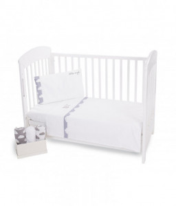 Kikka Boo Бебешки спален комплект 3 части EU style 60/120 с бродерия Little Angel Clouds Снимка 1