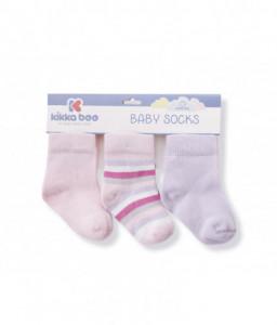 Kikka Boo Бебешки памучни чорапи STRIPES PURPLE 2-3 години Снимка 1