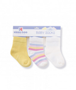 Kikka Boo Бебешки памучни чорапи STRIPES YELLOW 6-12 месеца Снимка 1