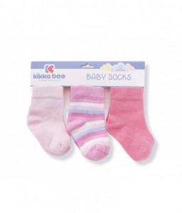 Kikka Boo Бебешки памучни чорапи STRIPES PINK 0-6 месеца Снимка 1