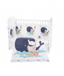 Kikka Boo Бебешки спален комплект 6 части 60/120 Happy Sailor Снимка 1