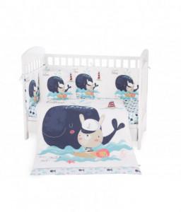 Kikka Boo Бебешки спален комплект 6 части 70/140 Happy Sailor Снимка 1