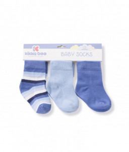 Kikka Boo Бебешки памучни чорапи STRIPES LIGHT BLUE 2-3 год. Снимка 1