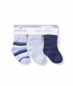 Kikka Boo Бебешки памучни чорапи STRIPES DARK BLUE 1-2 год. Снимка 1