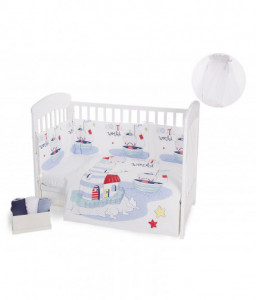 Kikka Boo Бебешки спален комплект 3 части Nautic с комарник 200/540 Снимка 1