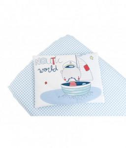 Kikka Boo Бебешки спален комплект чаршаф+калъфка Nautic 60/120/15 Снимка 1