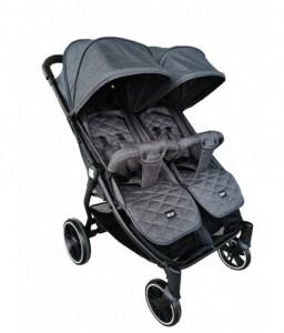 Kikka Boo Бебешка количка за близнаци Happy 2 2020 Dark Grey Снимка 1