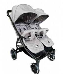 Kikka Boo Бебешка количка за близнаци Happy 2 2020 Light Grey Снимка 1