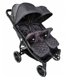 Kikka Boo Бебешка количка за близнаци Happy 2 2020 Black Снимка 1