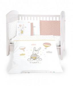 Kikka Boo Бебешки спален комплект 6 части 60/120 Rabbits in Love Снимка 1