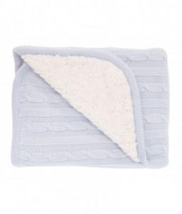 Kikka Boo Плетено памучно одеяло с шерпа Light Blue Снимка 1