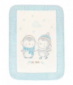 Kikka Boo Супер меко бебешко одеяло Love Pingus 110/140 см синьо Снимка 1