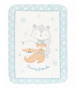Kikka Boo Супер меко бебешко одеяло Funny Friends 110/140 см синьо Снимка 1