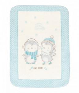 Kikka Boo Супер меко бебешко одеяло Love Pingus 80/110 см синьо Снимка 1