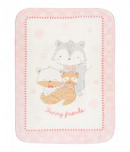 Kikka Boo Супер меко бебешко одеяло Funny Friends 80/110 см розово Снимка 1