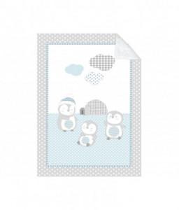 Kikka Boo Супер меко бебешко одеяло с шерпа Pingui Family 80/110 см синьо Снимка 1