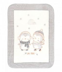 Kikka Boo Супер меко бебешко одеяло Love Pingus 80/110 см сиво Снимка 1