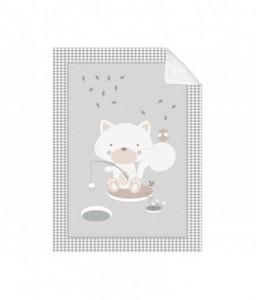 Kikka Boo Супер меко бебешко одеяло с шерпа Polar Fisher 110/140 см сиво Снимка 1