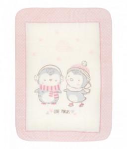 Kikka Boo Супер меко бебешко одеяло Love Pingus 110/140 см розово Снимка 1