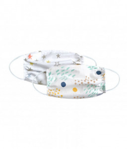 Kikka Boo Сет 2бр детска маска правоъгълна с ластик 15см Spots & Colorful stars Снимка 1