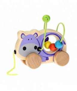 Jouéco Дървена играчка за дърпане и лабиринт с мъниста
