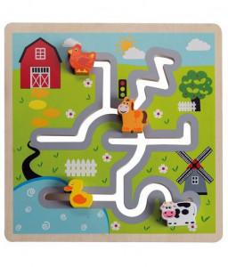 Jouéco Дървен лабиринт и логическа игра Jouéco - Ферма Снимка 1
