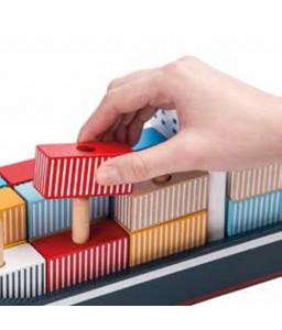 Jouéco Дървена дидактическа играчка Jouéco за низане и сортиране - Товарен кораб - Контейнеровоз Снимка 1