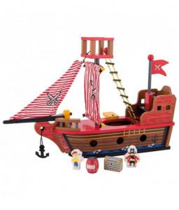 Jouéco Дървен комплект за игра Jouéco - Пиратски кораб Снимка 1