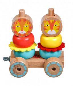 Lucy&Leo Дървена низанка за дърпане - Лъвчета