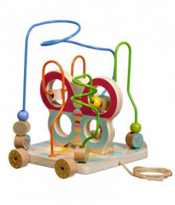 Lucy&Leo Дървена играчка за дърпане и голям лабиринт с мъниста - Пеперуда - 2 в 1