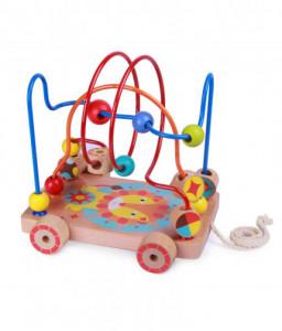 Lucy&Leo Дървена играчка за дърпане и лабиринт с мъниста - Лъвче - 2 в 1