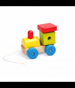 Pino Дървена играчка за дърпане Pino - Локомотив с бибитка