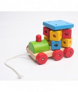 Pino Дървена играчка за дърпане Pino - Голям локомотив с бибитка