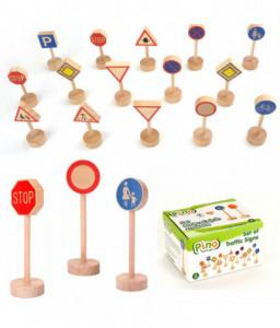 Pino Комплект за игра - Дървени Пътни знаци Pino